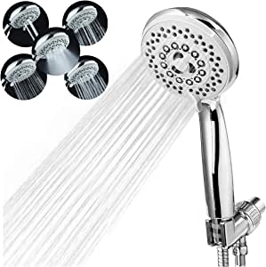 "Handheld Shower Head with Hose - 5 Spray Settings High Pressure Shower Head with 80"" Extra Long Stainless Hose Detachable Water Saving Showerheads with Adjustable Bracket Chrome Plated ABS Massage Spa"
