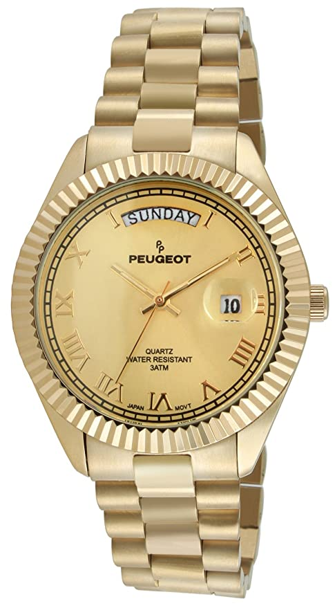 Peugeot Men's 1029G All Gold Coin Edge Bezel Watch