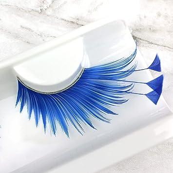 7b133cc5407 Amazon.com : Elegant Lashes F878 Premium Blue Feather False Eyelashes  Halloween Dance Rave Costume : Fake Eyelashes And Adhesives : Beauty