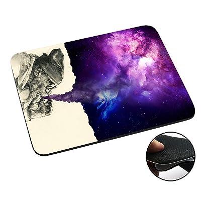 003032 - Old Hobo Smoking Weed Tornado Galaxy Design Macbook PC Laptop Anti-slip Tapis de Souris Mousepad Mouse Mat Tpu Leather-Slim 3MM