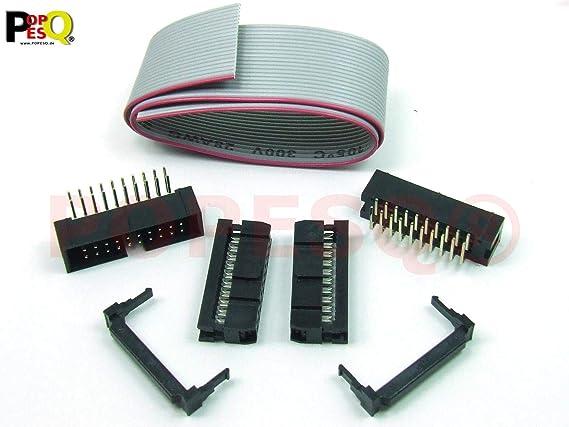 30 cm Flachbandkabel Ribbon cable  Buchse Stecker Header IDC KIT 16 polig //pin