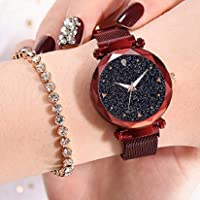 Acnos Hours 3,6,9 Represents Line and 12 Represent Diamond Rosegold 21st Century Magnet Analog Watch for Girls and Women(MGNT-red)