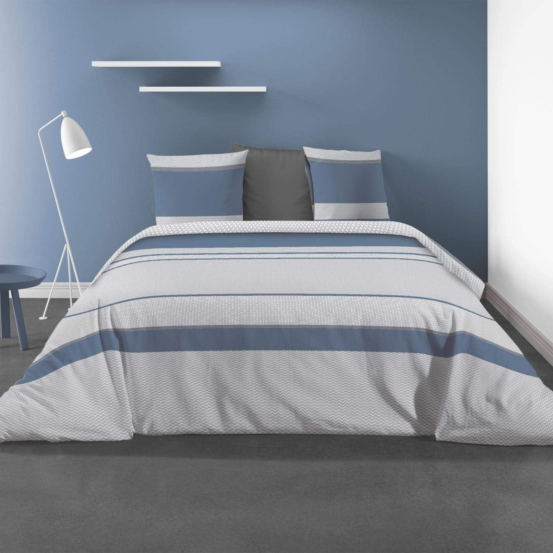 260 x 240 cm 100/% Polyester Bleu Ateliers du linge Ignhor Parure de Lit
