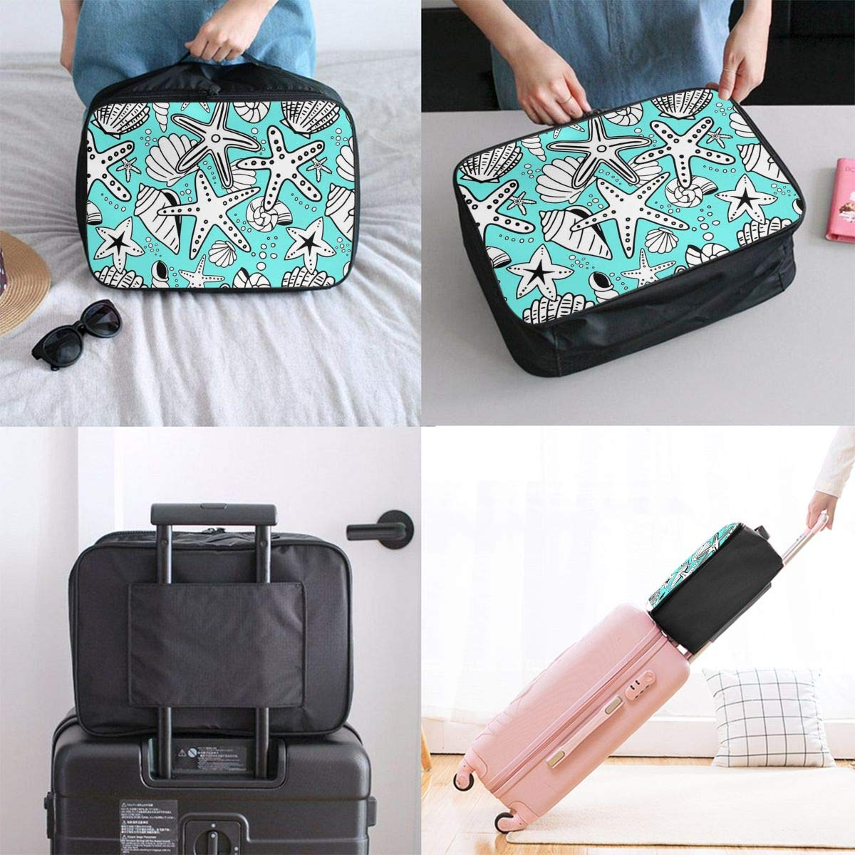 Travel Luggage Duffle Bag Lightweight Portable Handbag Starfish Pattern Large Capacity Waterproof Foldable Storage Tote
