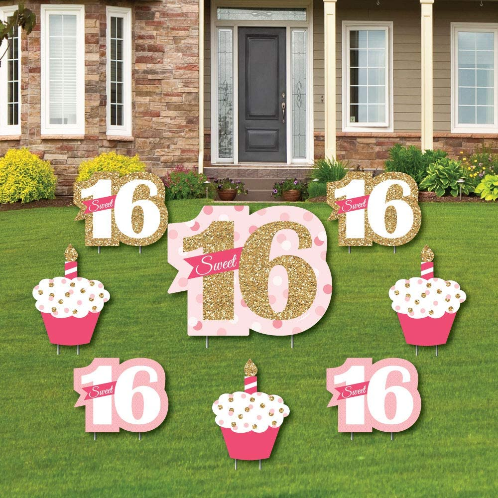 Big Dot of Happiness Sweet 16 - Yard Sign and Outdoor Lawn Decorations - 16th Happy Birthday Party Yard Signs - Set of 8