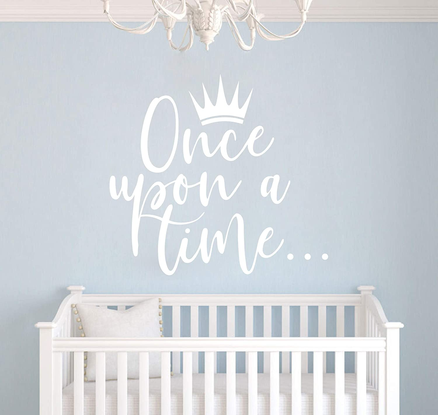Matte Gold, 42X38CM JURUOXIN Once Upon a time with Crown Wall Sticker Art Vinyl Home Quote Decals for Kids Girl Princess Room Nursery Decoration House Interior Design YMX38