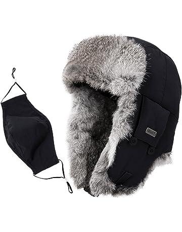 108781181af SIGGI Unisex 100% Rabbit Fur Trapper Ushanka Russian Hat Nylon Shell  Windproof