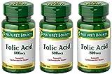 Folic Acid 800 mcg Tablets Maximum Strength, 3 Bottles (250 Count)