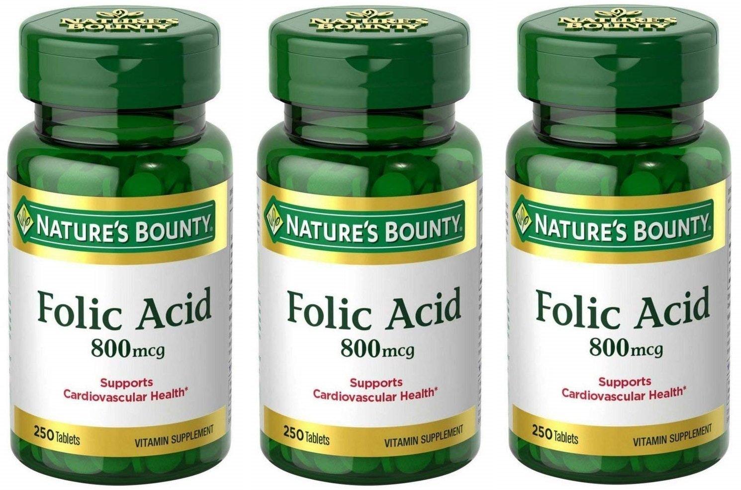 Folic Acid 800 mcg Tablets Maximum Strength, 3 Bottles (250 Count) by Nature's Bounty (Image #1)