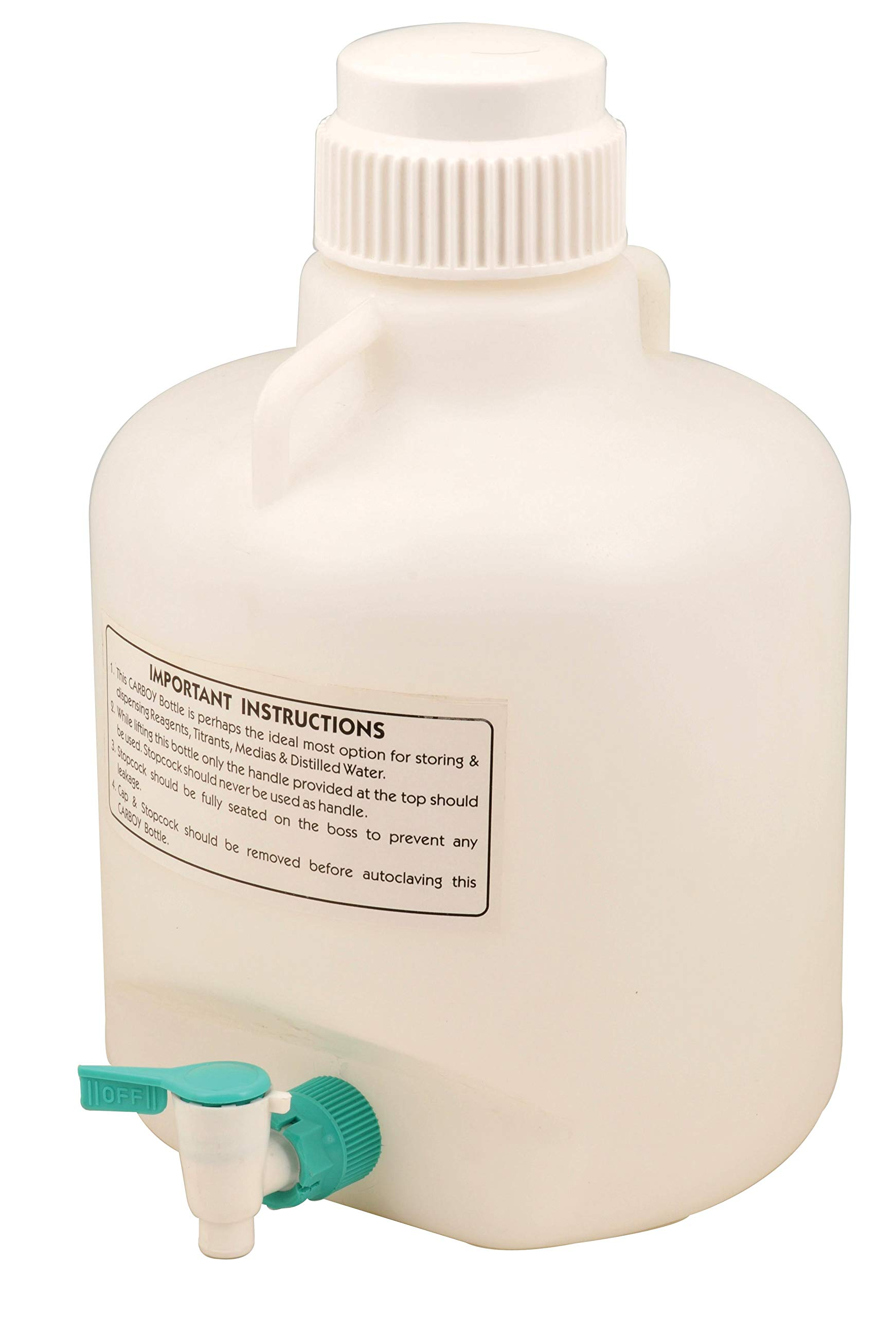 Carboy Bottle with Stopcock, 20 Liter Capacity, White Premium Polypropylene with 2 Handles - Eisco Labs