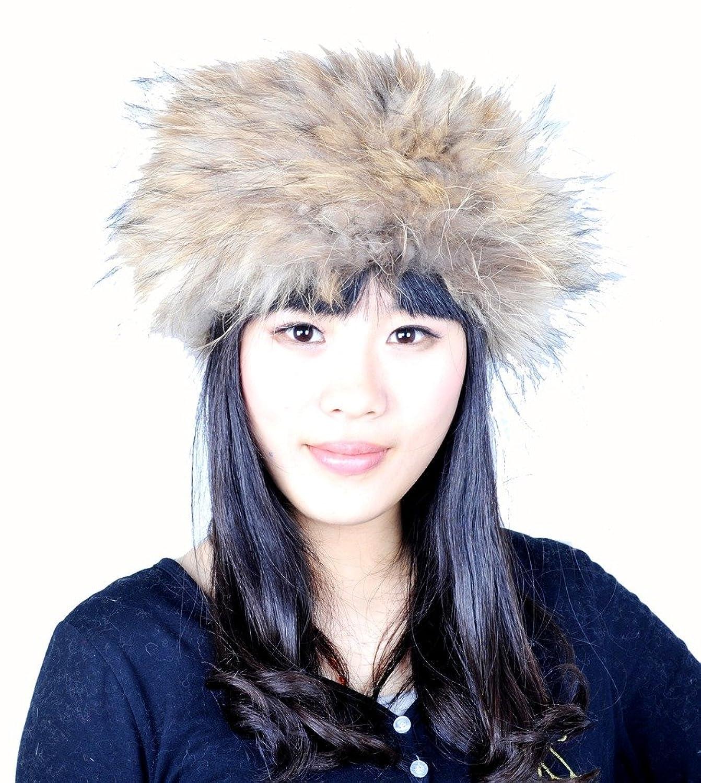 CX FUR Girls Elegant Knitted Raccoon Fur Elastic Snood/Headband, Natural Color