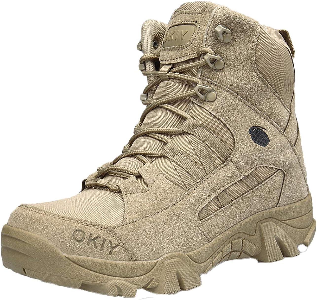 GJRRX Botas de montaña Militares de Cuero Transpirables y Resistentes al Desgaste para Hombres Calzado de Trekking táctico Antideslizante y Resistente al Agua para otoño e Invierno para Hombre 39-44
