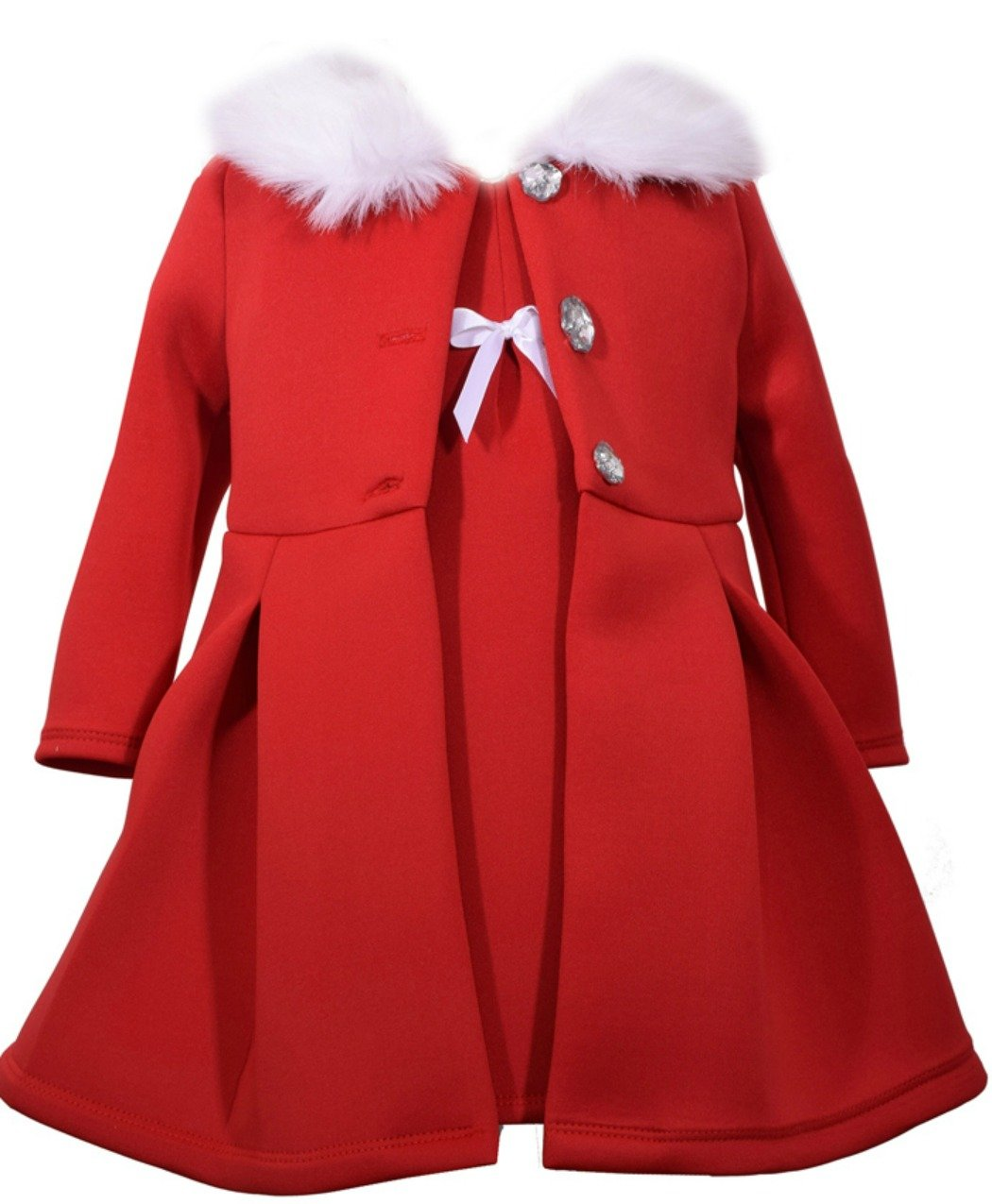 Bonnie Jean Little Girls' Dress and Coat Set, Red, 6