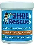 Poudre pour les pieds et les chaussures 100g – Elimine les odeurs de pied – Conçu par un podologue agréé Shoe Rescue est un remède désodorisant entièrement naturel qui élimine les mauvaises odeurs de chaussures et de pieds – Contient des huiles essentielles Arbre à thé Eucalyptus et Menthe poivrée – Convient également pour le pied d'athlète et rafraîchit les pieds