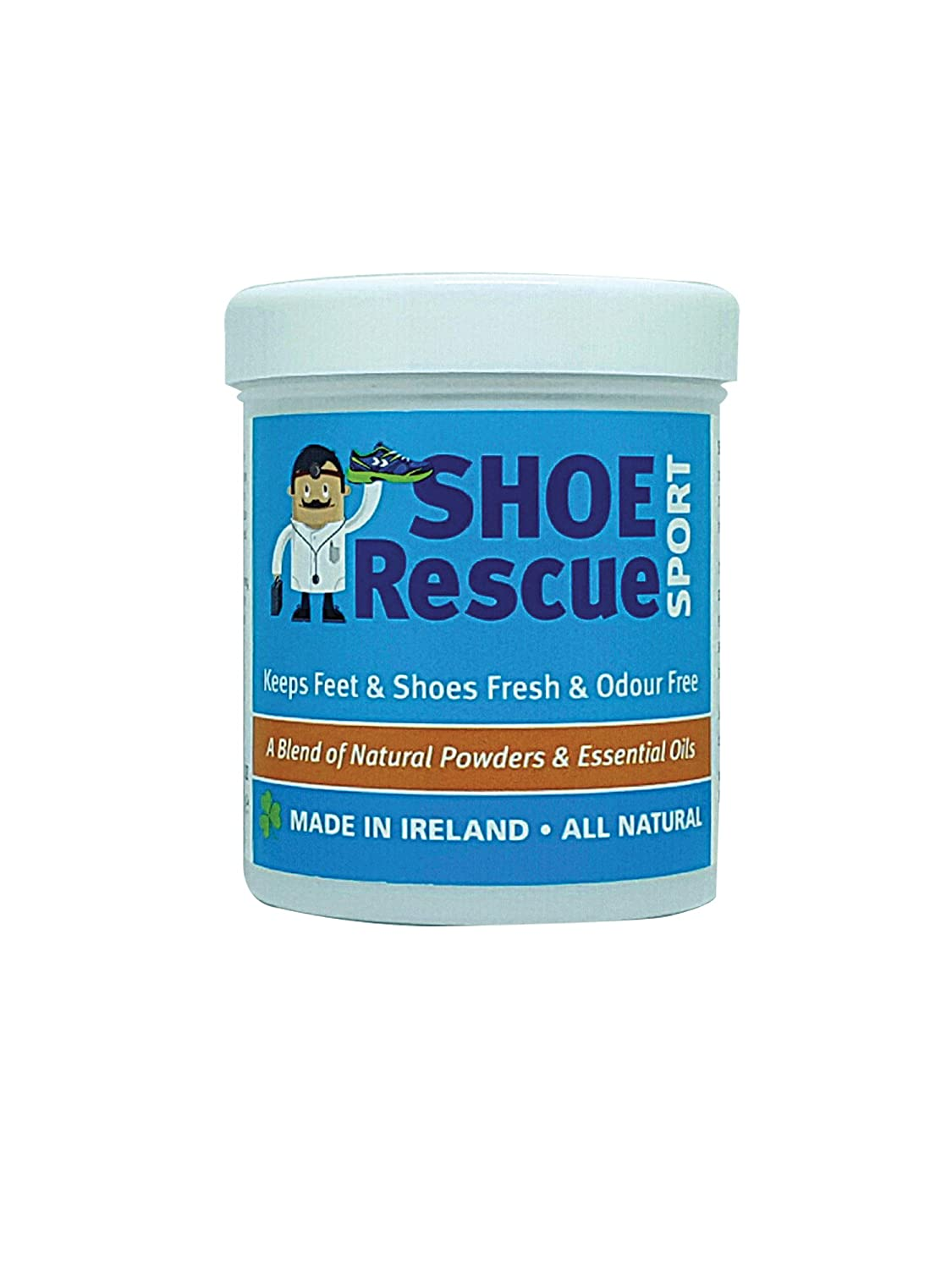 Foot and shoe powder 100g - Foot odour remover and eliminator - Developed by a registered podiatrist Shoe Rescue is a completely natural deodorant remedy to eliminate smelly shoes and feet - Contains