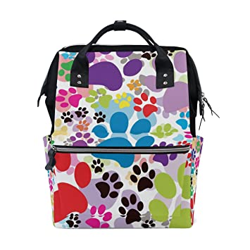 146e293105d5 Amazon.com : MAPOLO Colorful Cat Dog Paws Footprints Diaper Backpack ...