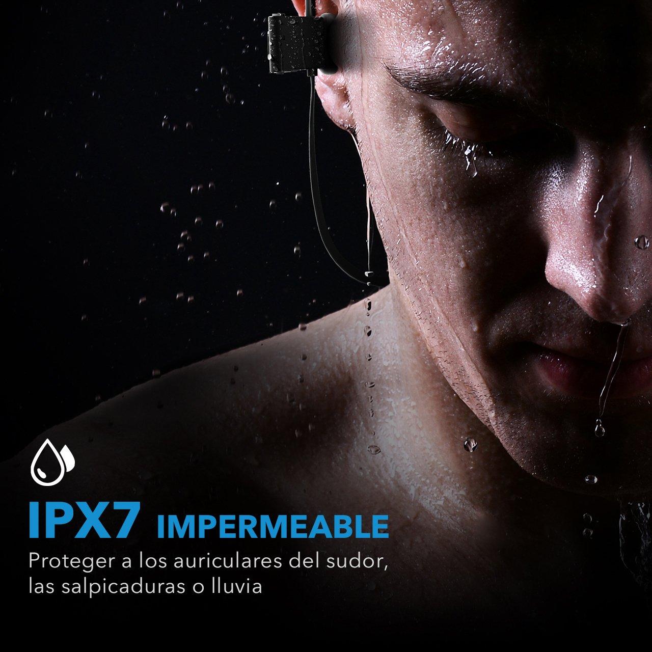Mpow Auriculares Bluetooth Deportivos, V4.1 Impermeable IPX7 In-Ear Cascos Inalámbricos,Auricular Running Deporte Correr con Micrófono,Cancelación de Ruido ...