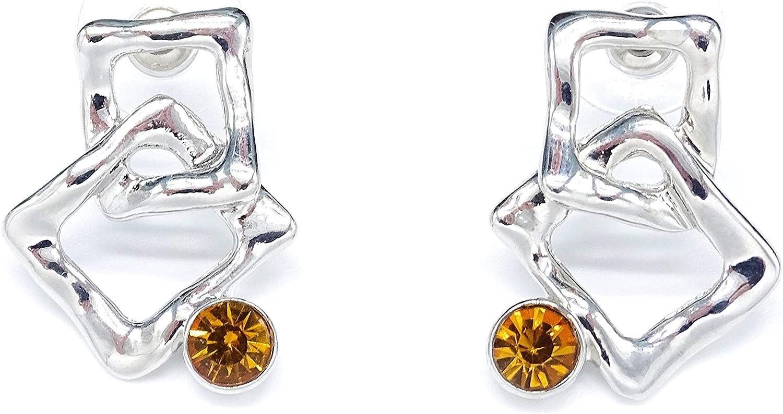 Irresistible1 - Pendientes de metal en plata de ley con preciosas piedras preciosas de ámbar