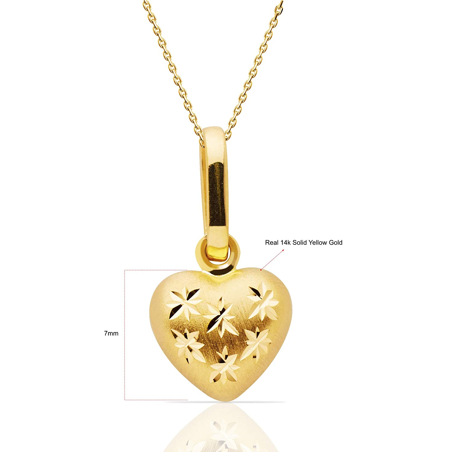 438078c95151f 14k Yellow Gold Heart Pendant Necklace, 18