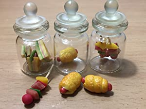 3pc Miniature Sandwich Food Hot Dog Fruit Vegetable Dollhouse BBQ in Clear Glass Mini Bottle Fruit Mix #MF009