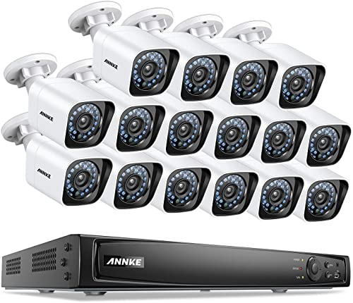 ANNKE 16CH True POE Security Camera System 6MP Full HD NVR Recorder and 16 1080P 1920TVL Weatherproof IP Cameras with 100ft Super Nigh Vision, Metal Housing