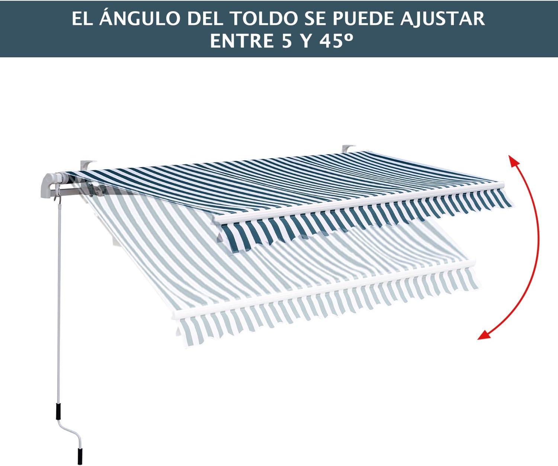 Outsunny Toldo Manual Plegable de Aluminio /Ángulo Ajustable Manivela para Exterior Balc/ón Jard/ín Terraza 2.95x2.5m Verde