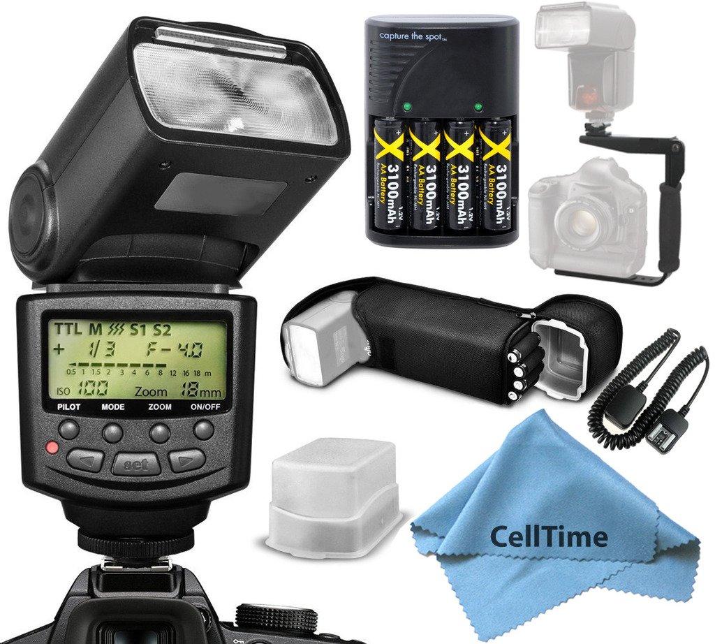 プロフェッショナルシリーズi-ttl auto-focus専用Speedlite Flashバンドルアクセサリーキットfor Nikonデジタル一眼レフカメラd3100 d3200 d3300 +ハードフラッシュディフューザーフラッシュブラケット+マイクロファイバークリーニングクロス   B015VFB2N2