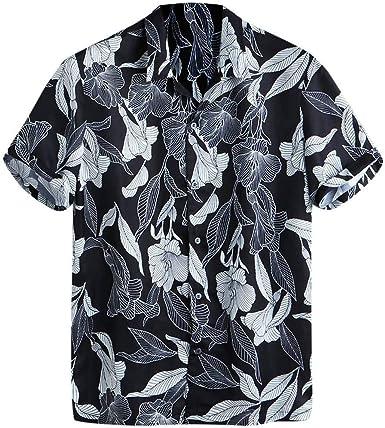 Camisas de Hombre T Shirt tee Ropa de Playa Cuello Vuelto Suelto Manga Corta Camiseta Casual Sueltas Explosion con y Estampado Viento Hawaiana Blusa Tops(Negro L: Amazon.es: Ropa y accesorios