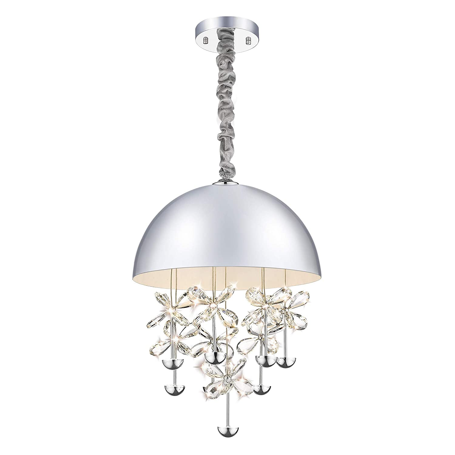 Modern crystal chandeliers 40w dimmable led pendant lights chrome lighting fixture 3000k warm white adjustable hanging cord for sitting room dining room