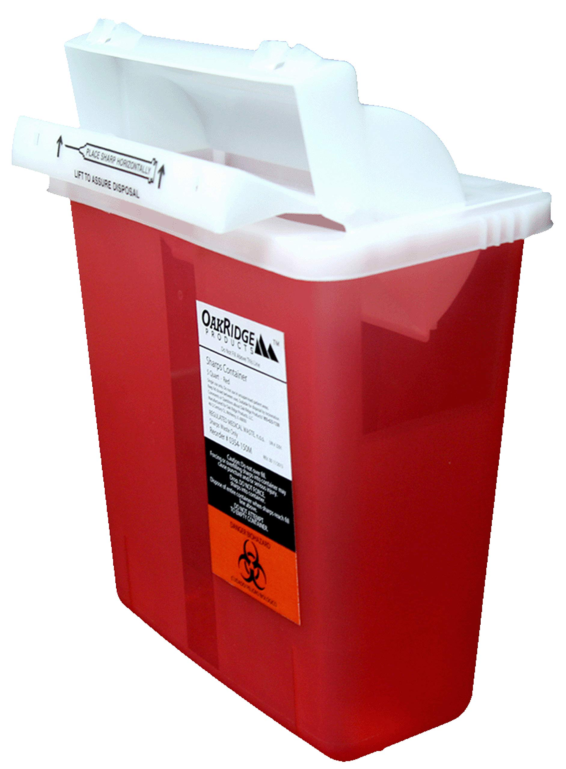 5 Quart Sharps Container (2 Pack) from OakRidge Products | Mailbox-style Lid |  Certified by OakRidge Products