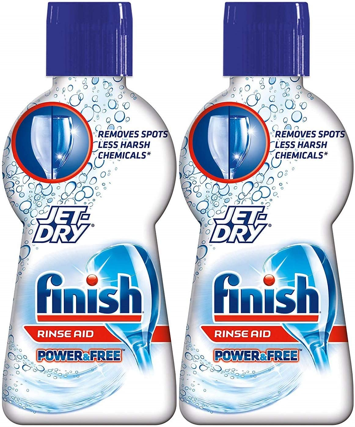 Finish 689358586390 Power & Free Rinse Aid with Jet Dry-Shinier Dishes-Less Harsh Chemicals Chemicals-65 Washes Per Bottle-Net Wt. 6.76 FL OZ (200 mL) Each- 2 Pack, 200 mL, 2 Pk, 6.76 Oz