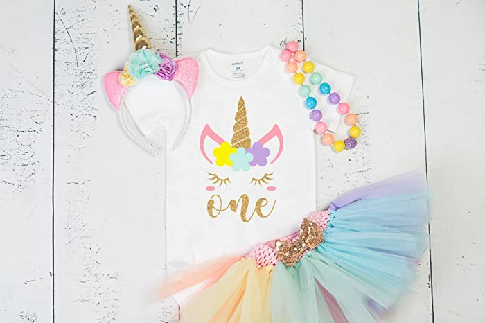 5fb33bea5b1d Amazon.com: GirliesGalore Girls Unicorn Birthday Outfit, Baby Girl 1st  Birthday, Unicorn Party, Unicorn Themed Birthday, Girls First Birthday  Outfit: ...