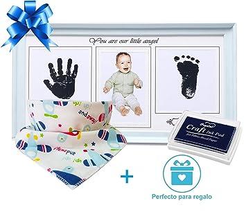 Bilderrahmen Fur Hand Und Fussabdrucke Babyblau Bonus Zwei Latzchen