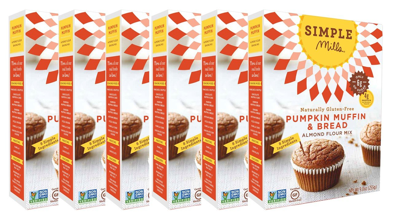 Simple Mills Almond Flour Mix, Pumpkin Muffin & Bread, 9 oz, 6 count by Simple Mills