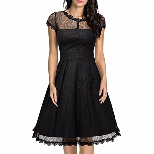 Samtree Swing Lace Dress For Women Vintage Cap Sleeve Floral