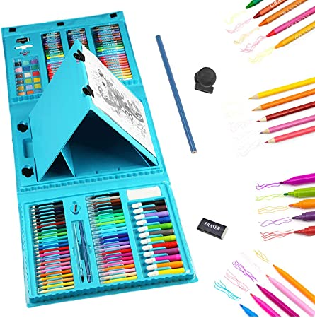 208Pcs Painting Art Set Colouring Drawing Tool kit In Wooden Box Gift for Kids