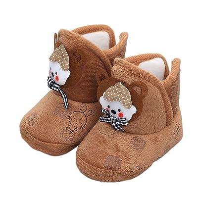 Auntwhale Bebé recién nacido de dibujos animados con cordones prewalker antideslizantes lindos botas casuales zapatos CAFÉ