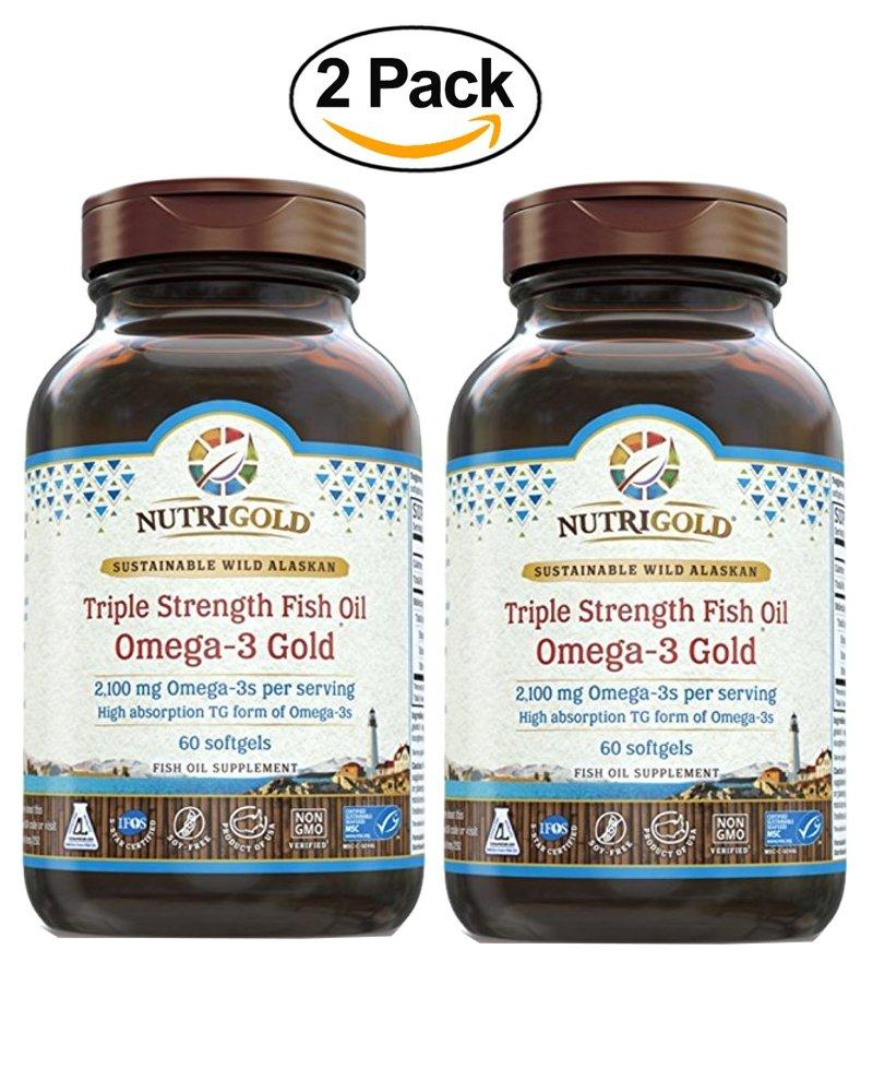Nutrigold Omega-3 GOLD - Triple Strength - 60 Softgels - 1,250 mg (Pack of 2)