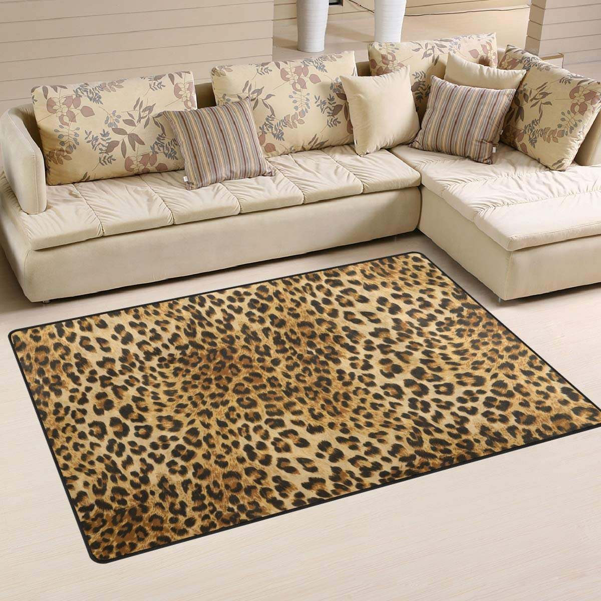 ALAZA Non-Slip Area Rugs Home Decor, Leopard Animal Print Floor Mat Living Room Bedroom Carpets Doormats 31 x 20 inches