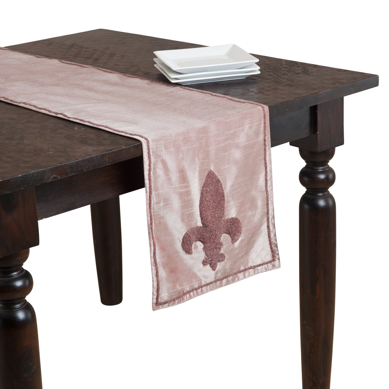 SARO LIFESTYLE H713 Orleans Oblong Table Runner 13 by 72-Inch Red