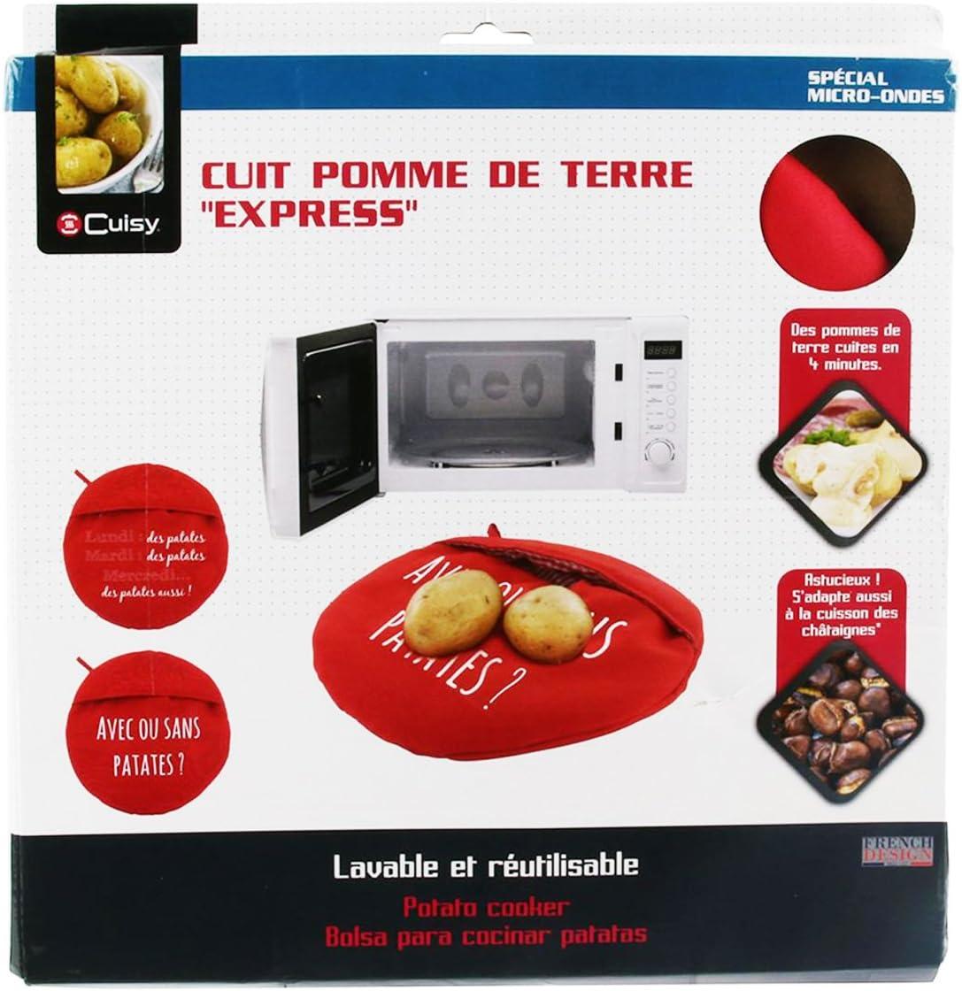 Q0518 - Chausson cuit Pommes de Terre Messages Rouge avec ou sans patates ? - 26.5 cm Les Tr/ésors De Lily
