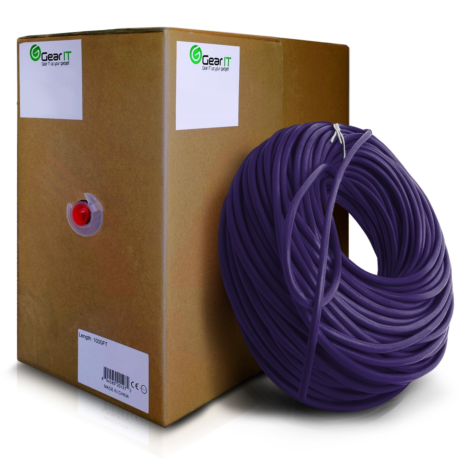 GearIT 1000 Feet Bulk Cat6 Ethernet Cable - Cat 6e 550Mhz 24AWG Full Copper Wire UTP Pull Box - In-Wall Rated (CM) Stranded Cat6, Purple by GearIT