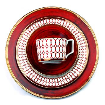 JXHD Vajilla De Porcelana Completa Set -Plato CláSico para Bistec De Cubiertos De Porcelana De