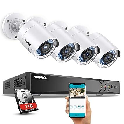 ANNKE Kit de 4 Cámaras de Vigilancia (Onvif H.264+ CCTV DVR P2P