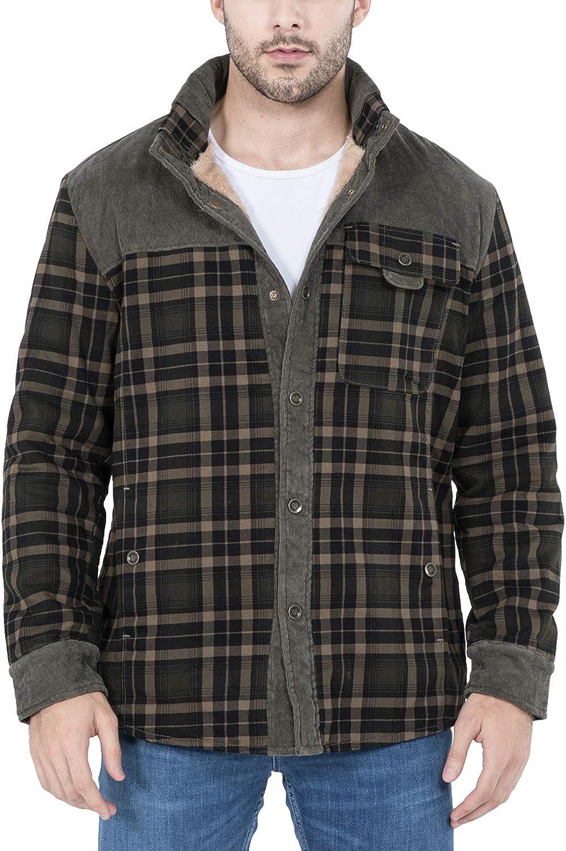 Mr.Stream Camicia da Uomo in Stile Casual da Boscaiolo Plaid Flanella A Quadri Camicia Imbottita da Lavoro di Cotone Cappotto Invernale