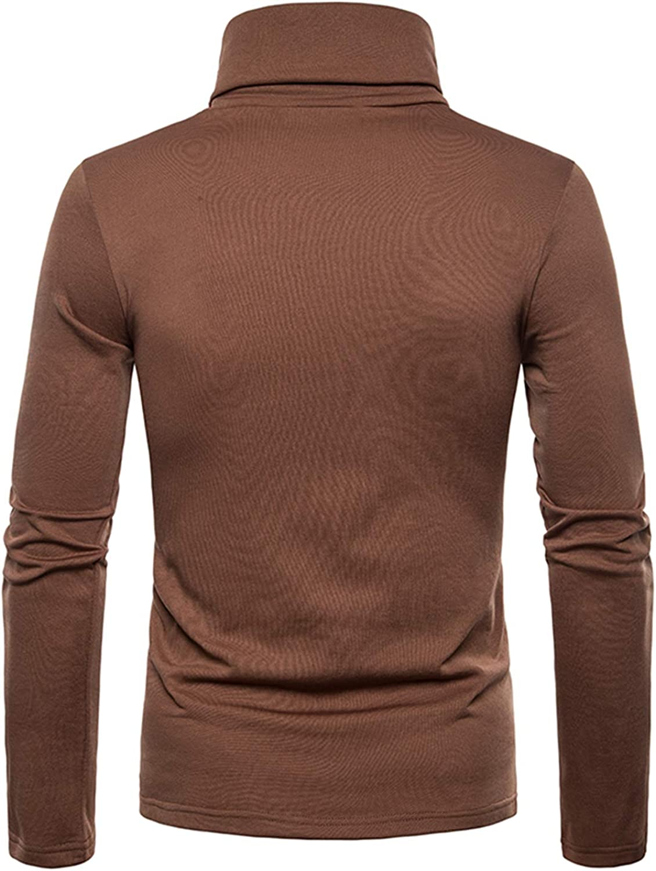 JOLIME Mens Turtleneck Long Sleeve T-Shirt Slim fit Fleece Lined Stretch Basic Top Blouse