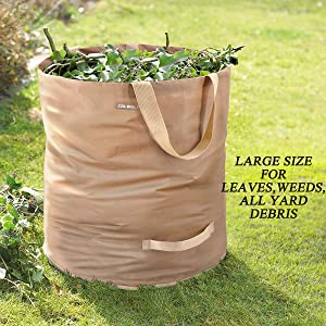 Colwelt Leaf Bags Reusable 72Gallons, Extra Large Yard Garden Waste Bags, Lawn and Leaf Bag with Drain Hole(27.6''D x 27.6''H)