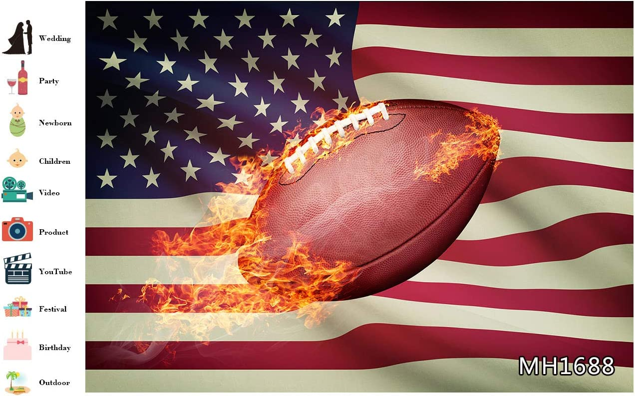 LB Sport Theme American Flag Backdrops for Photography 10x8ft Burning Football USA Super Bowl Photo Background for Party Decorations Customized Photoshoot Props
