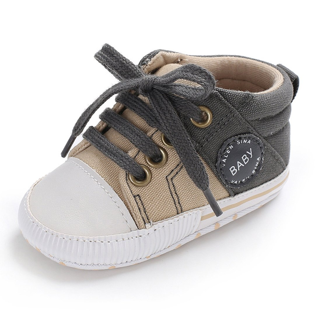 Tutoo Unisex Baby Boys Girls Soft Anti-Slip Sole Sneakers Newborn Infant First Walkers Canvas Denim Shoes (12-18 Months, A-Grey)