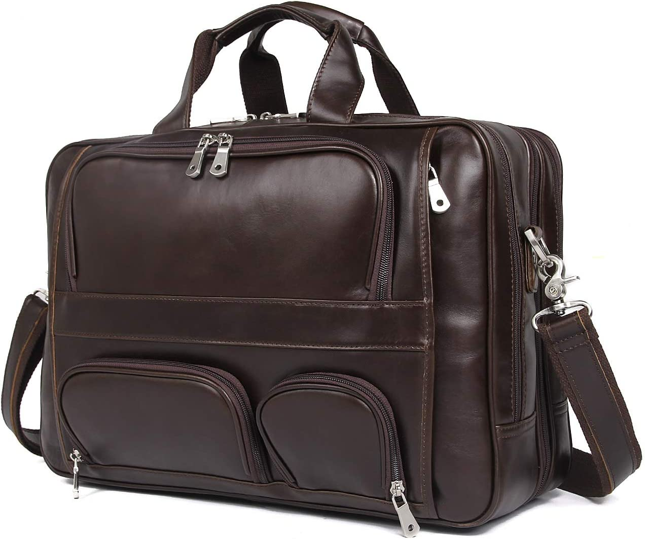 Polare Real Leather 17 Laptop Carry On Overnight Bag Business Briefcase Large